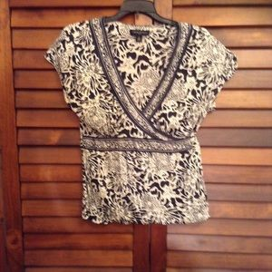 Banana Republic Silk faux wrap floral blouse